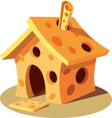 Small house made of yellow porous cheese — Stock Vector