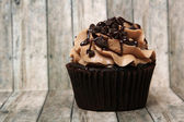 Double Chocholate Chip Cup Cake On Wood Background — Stock Photo