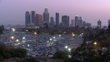 Los Angeles City Skyline with Dodger Stadium Parking Lot — Stock Video