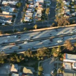 Aerial footage of Los Angeles freeways and suburbs — Stock Video