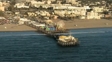 Aerial View of the Santa Monica Pier California Coast - Los Angeles — Stock Video