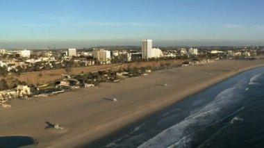 Aerial View of the Santa Monica California Coast - Los Angeles — Stock Video