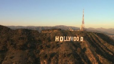 Hollywood sign, los angeles hava — Stok video