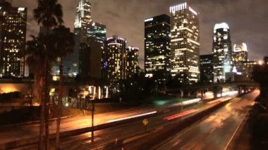 Time Lapse of LA Downtown Buildings and Freeway Los Angeles — Stock Video