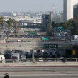 Heavy Traffic on Overpass on the 101 Freeway in Downtown Los Angeles - Tilted - Stock Photo