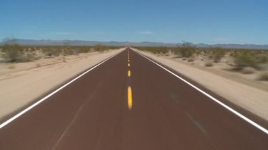 Speeding Down Abandon Mojave Desert Road — Stock Video