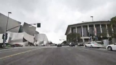 Car Mounted Camera Driving on Downtown Los Angeles Time Lapse — Stock Video