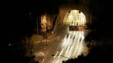 夜に忙しいトンネル — ストックビデオ