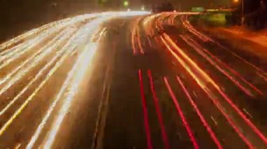 Time Lapse of Busy Los Angeles Freeway at Night — Stock Video