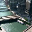 Chicago River. Downtown from Above - Time Lapse — Stock Video