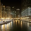 Downtown Chicago Waterway at Night — Stock Video