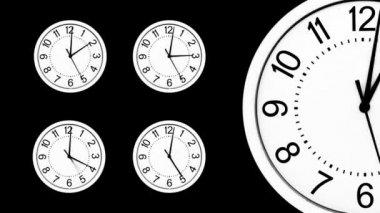 Zeitraffer über mehrere Uhren — Stockvideo