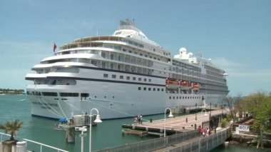 Cruise ship departs Key West — Stock Video
