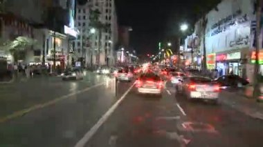 Car Mounted Driving Camera Night Drive - Hollywood - Time Lapse — Stock Video