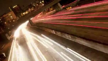 Tilted Traffic on the Busy 101 Freeway - Time Lapse — Stock Video