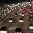 Traffic on the Busy Freeway at Night - Time Lapse — Stock Video #17204685