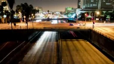 Downtown Los Angeles Traffic - Time Lapse - Zoom — Stock Video