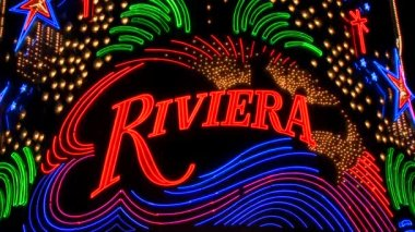 Riviera Neon Signs in Las Vegas — Stock Video
