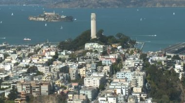 Coit Tower - City View - Time Lapse - Day - San Francisco — Stock Video