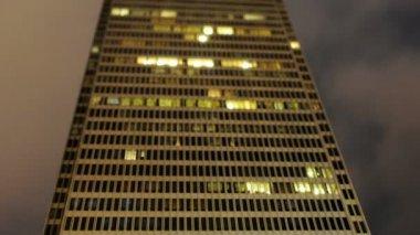 Building at Night Time Lapse - Tilt Shift — Stock Video