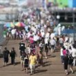 Stock Video: SantMonicBeach - Tilt Shift, Zoom