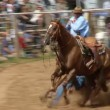 Rodeo Cowboys - Bulldogging Steer Wrestling in Slow Motion — Stock Video