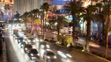 Time Lapse of Las Vegas Strip Casinos at Night — Stock Video