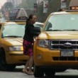 Woman Entering Taxi — Stock Video