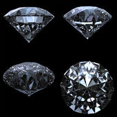 Set of 4 diamonds with clipping path — Stock Photo