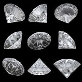 Set of 9 diamonds with clipping path — Stock Photo