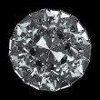 Round diamond - isolated on black background with clipping path — Стоковая фотография
