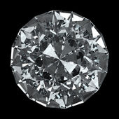 Diamante redondo - aislado en fondo negro con trazado de recorte — Foto de Stock