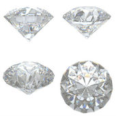 4 Diamonds set on white background - clipping path — Stock Photo