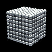 Magnetic metal balls cube - clipping path — Stock Photo