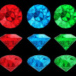 Set of color diamonds — Stock Photo