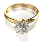 Diamond golden ring isolated — Stock Photo