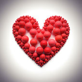 Heart illustration on black - clipping path — Stock Photo