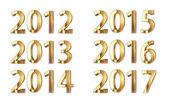 золотой новый год - 2012-2017 — Стоковое фото