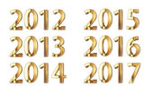 Golden neujahrs - 2012-2017 — Stockfoto