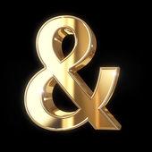Golden 3D ampersand symbol — Stock Photo