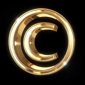 Golden 3D copyright symbol — Stock Photo