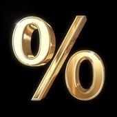 Golden 3D percentage symbol — Stock Photo