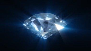 Spinning blue shining diamond - looped 3d animation — Stock Video
