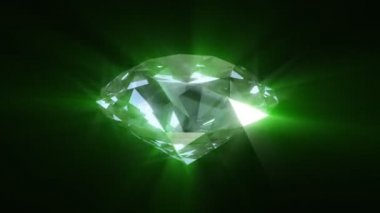 Spinning green shining diamond - looped 3d animation — Stock Video