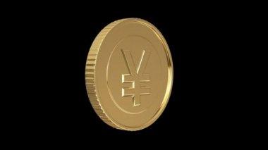 Altın yen sikke izole kırpma yolu ile siyah — Stok video