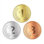 Golden, silver and bronze medals — Stock Photo