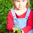 Child holding sprout - Stock Photo