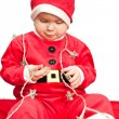 Baby wearing Santa suit — Stock Photo