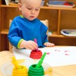 Child at painting lesson — Stock Photo
