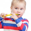 Stock Photo: Child brushing teeth